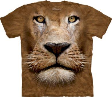 Tričko unisex The Mountain Lion Face - hnědé, XL
