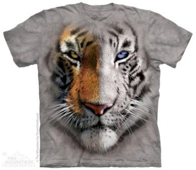 Tričko unisex The Mountain Big Face Split Tiger - šedé, S