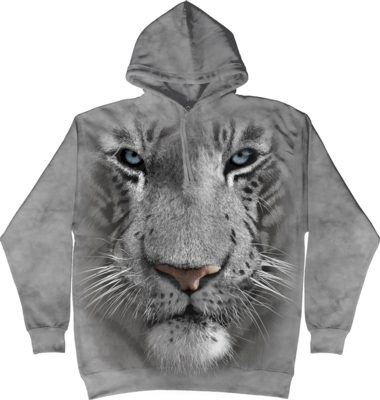 Mikina The Mountain Hoodie White Tiger Face - šedá, M