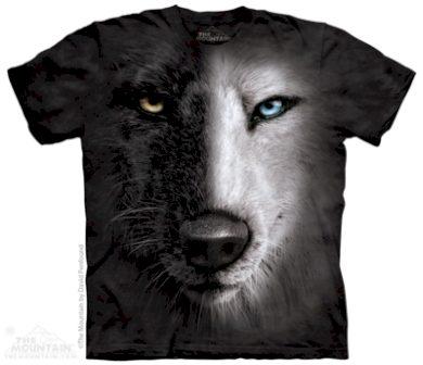 Tričko unisex The Mountain Black & White Wolf Face - černé, M