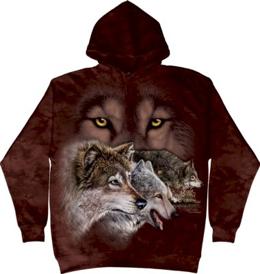 Mikina The Mountain Hoodie Find 9 Wolves - červená, S