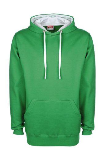 Mikina s kapucí FDM Contrast - zelená, XXL