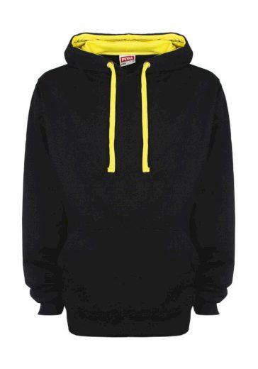 Mikina s kapucí FDM Contrast - černá-žlutá, XXL