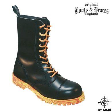Těžké kožené boty 10 Fire - černé, 6