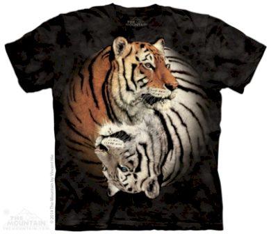 Tričko unisex The Mountain Yin Yang Tigers - černé, M