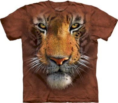 Tričko unisex The Mountain Tiger Face - hnědé, L