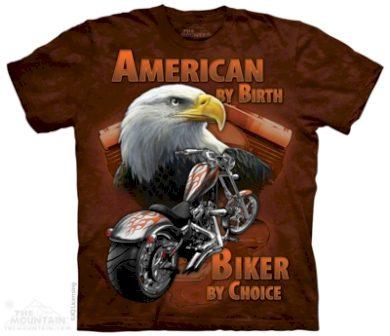 Tričko unisex The Mountain American By Birth - hnědé, M