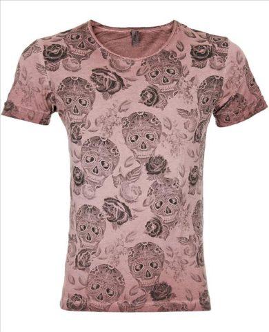 Tričko EKSI Skullhead - růžové, XXL