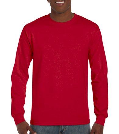 Triko s dlouhým rukávem Gildan Ultra - červené, XXL