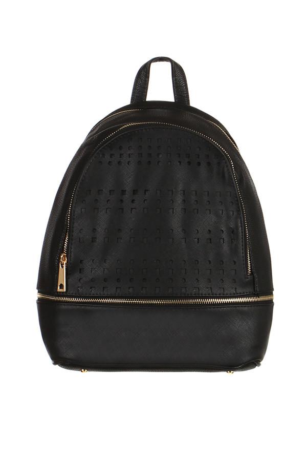 Glara Dámský elegantní děrovaný koženkový batoh na zip 229609