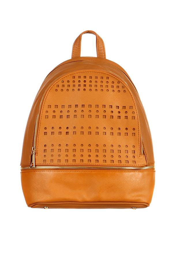 Glara Dámský elegantní děrovaný koženkový batoh na zip 229613