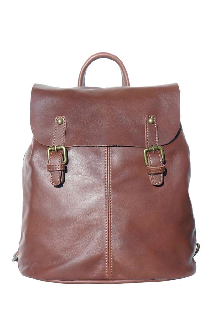 Glara Kožený dámský jednobarevný batoh se dvěma přezkami 481847