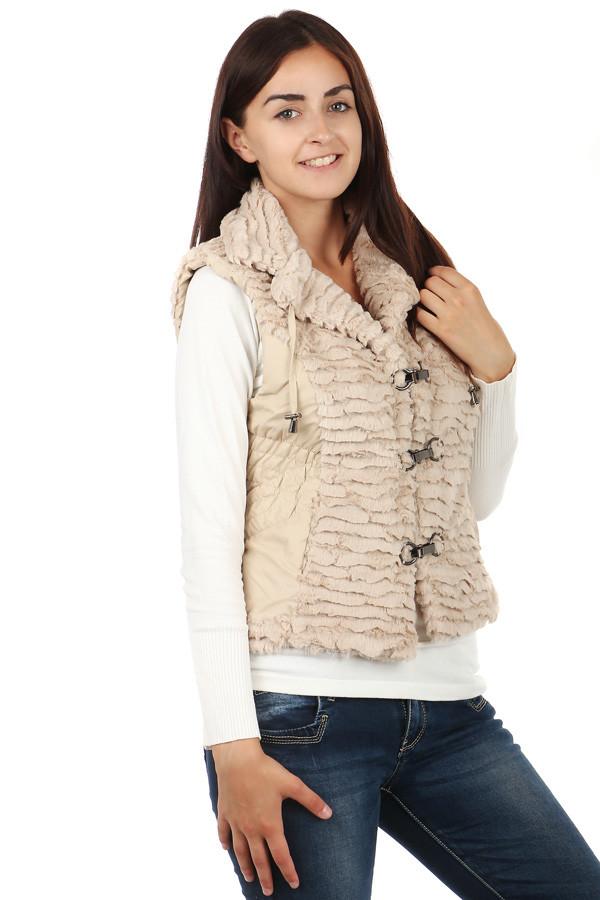 Glara Dámská zimní krátká vesta s kožíškem nadměrné velikosti 71449