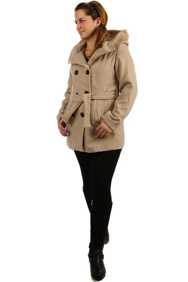 Glara Dámský kabát s kožešinou na kapuci 172189