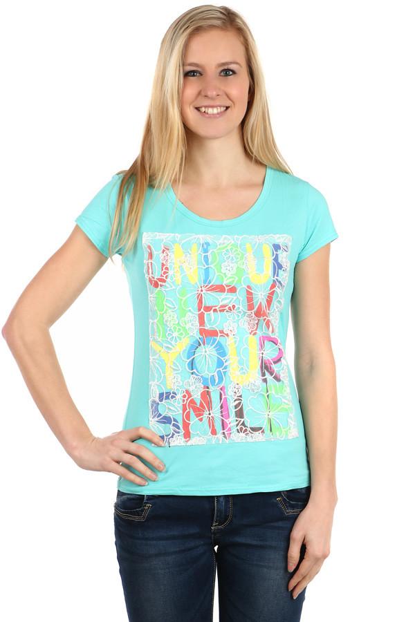 Glara Dámské barevné triko s nápisy 112629