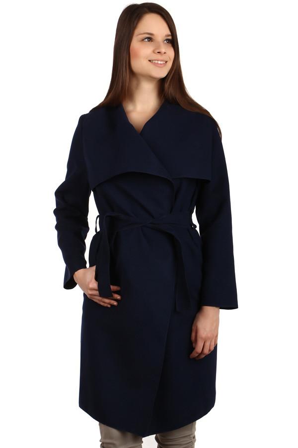 Glara Dámský kabát s páskem a výrazným límcem 126496