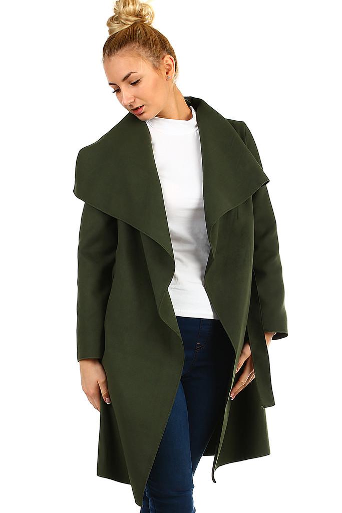 Glara Dámský kabát s páskem a výrazným límcem 403112