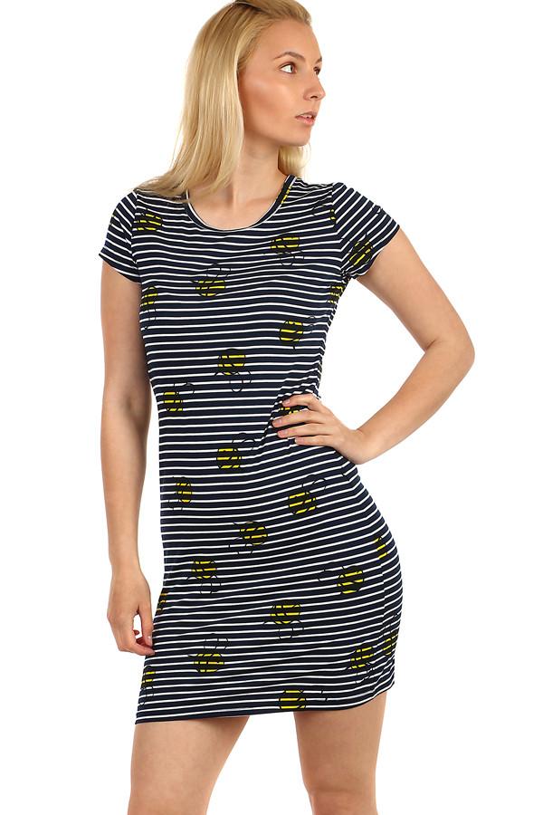Glara Dámské dlouhé bavlněné tričko s pruhovaným vzorem a krátkým rukávem 222051