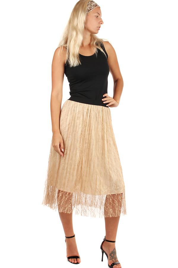 Glara Dámská plisovaná tylová midi sukně 249125