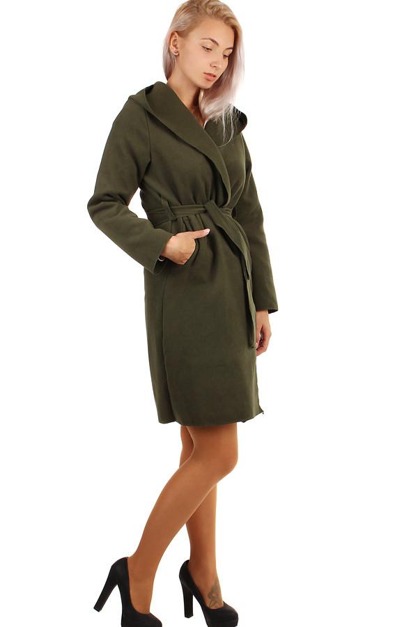 Glara Delší dámský kabát s kapucí 263664
