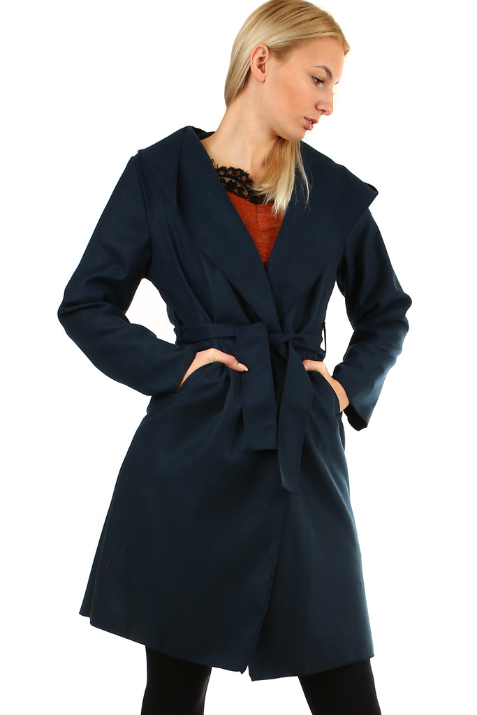 Glara Delší dámský kabát s kapucí 400175