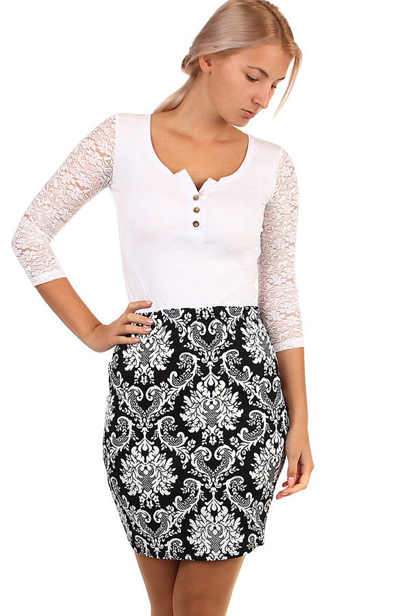 Glara Dámská společenská pouzdrová krátká sukně s květovaným vzorem 264333