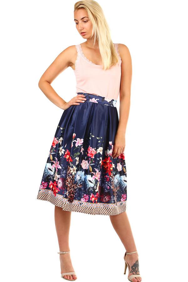 Glara Dámská skládaná půlkolová retro sukně s květinovým potiskem 335544