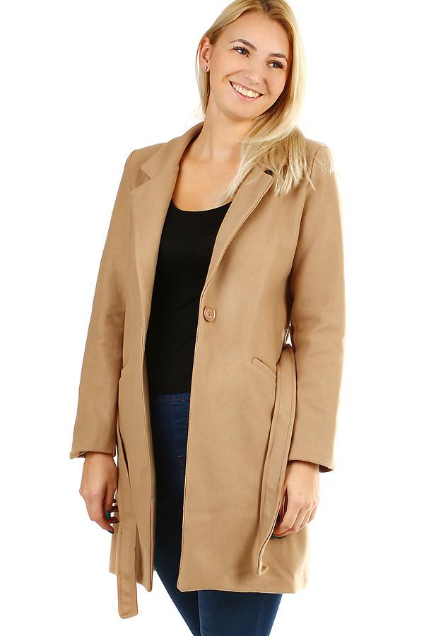 Glara Dámský kabát s páskem a límečkem 391673