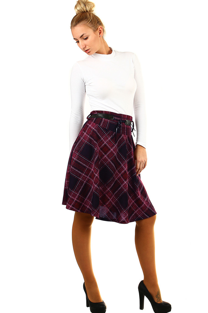 Glara Áčková sukně s károvaným vzorem 498393