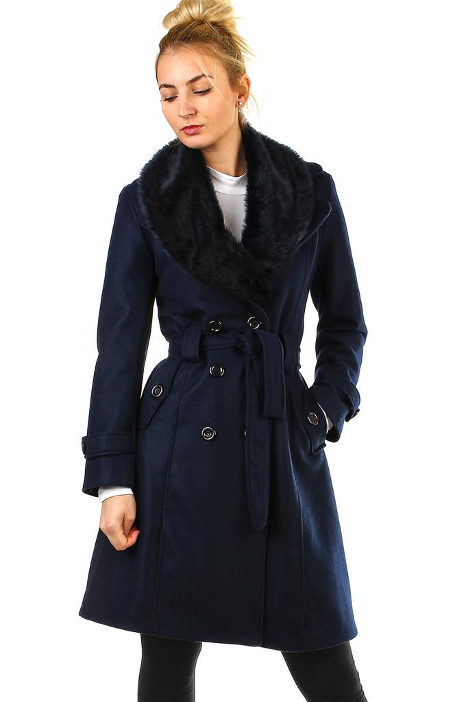 Glara Flaušový kabát s kožešinovým límcem 496494