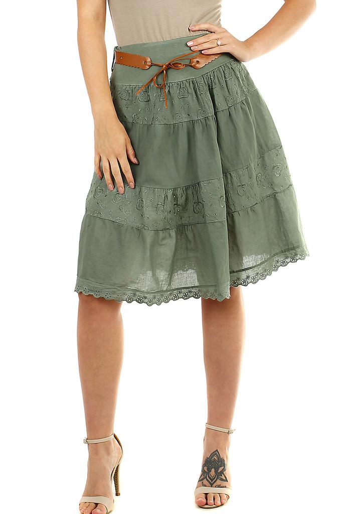 Glara Bavlněná dámská sukně s krajkou 469577