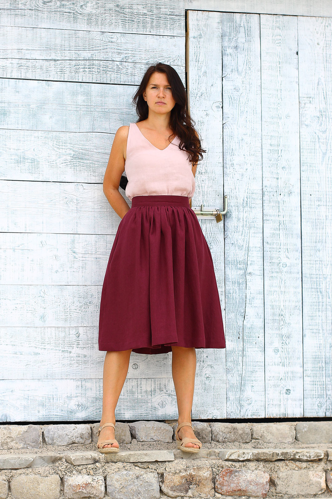 Lotika Autorská česká lněná sukně Lotika Premium quality 700838