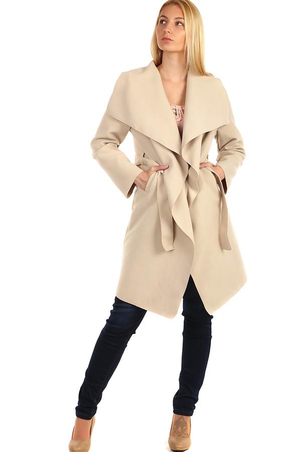 Glara Dámský kabát s páskem a výrazným límcem 209206