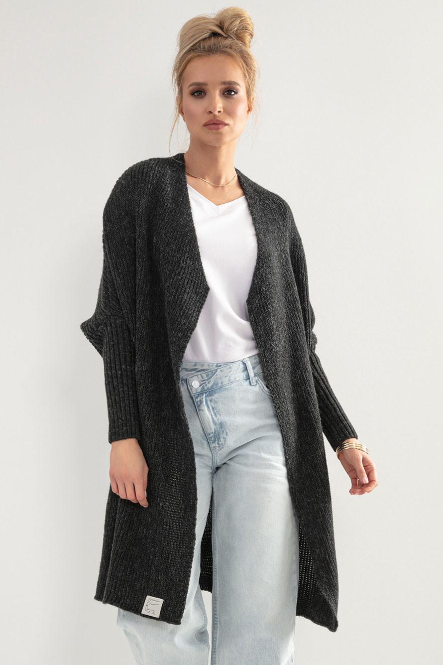 Glara Dámský pletený kabátek kardigan s vlnou 707173