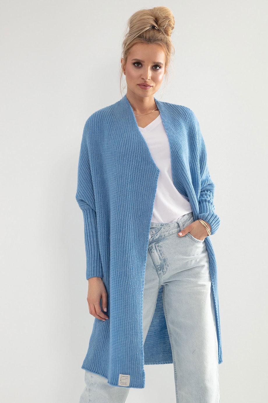 Glara Dámský pletený kabátek kardigan s vlnou 707175