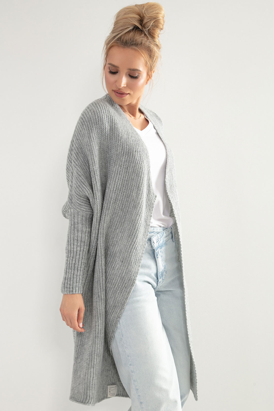 Glara Dámský pletený kabátek kardigan s vlnou 707178