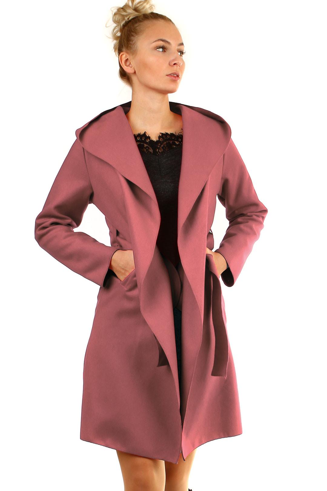Glara Delší dámský kabát s kapucí 719097