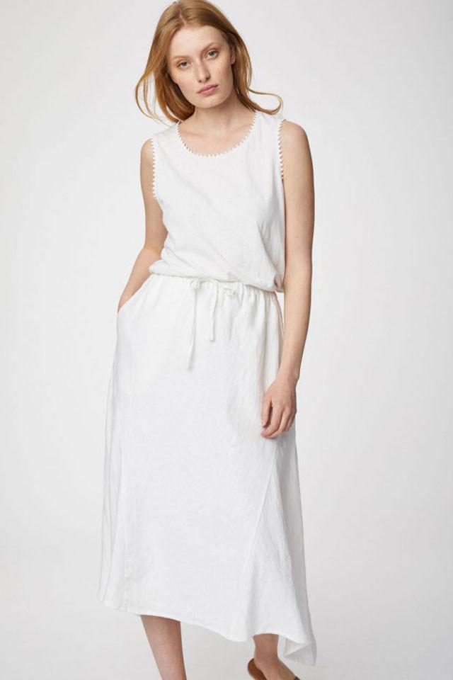 Glara Dámská jednobarevná sukně z konopí 688732