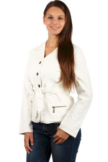 Glara Dámský koženkový kabátek s páskem 76847