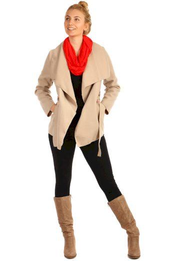 Glara Dámský kabát s páskem 222844