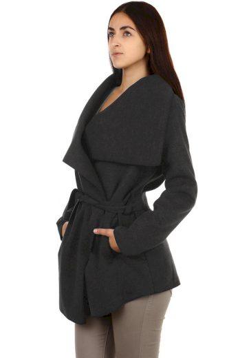 Glara Dámský kabát s páskem 703632