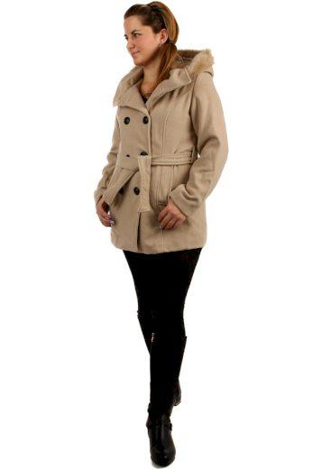 Glara Dámský kabát s kožešinou na kapuci 172200