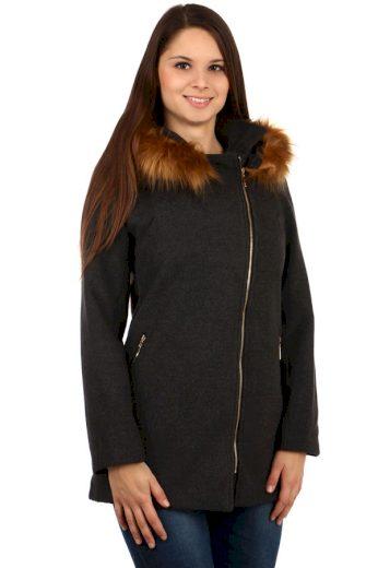 Glara Dámský kabátek s kapucí a kožešinou - šedý 92365