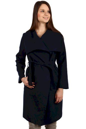 Glara Dámský kabát s páskem a výrazným límcem 261532