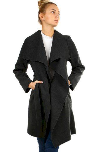 Glara Dámský kabát s páskem a výrazným límcem 126497