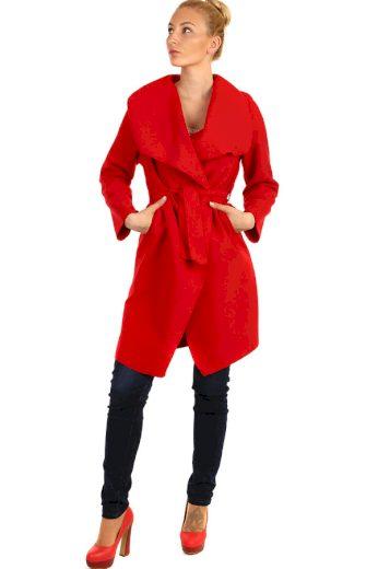 Glara Dámský kabát s páskem a výrazným límcem 209247