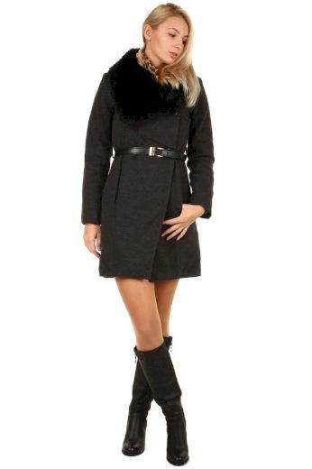 Glara Zimní dámský kabát s kožešinovým límcem 184490