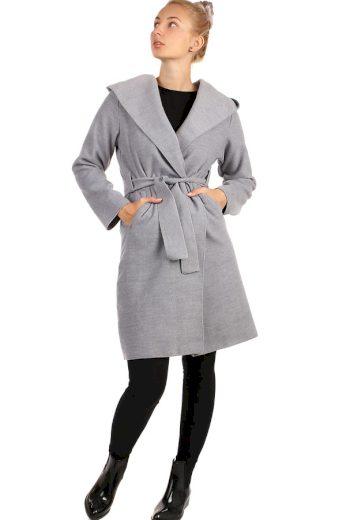 Glara Delší dámský kabát s kapucí 263665