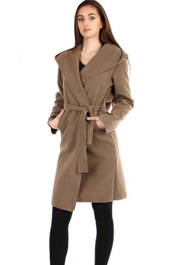 Glara Delší dámský kabát s kapucí 292784