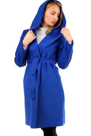Glara Delší dámský kabát s kapucí 400174